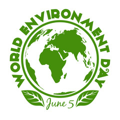 Round stamp for World Environment Day. June 5. Environment Day logo design isolated on white background. Vector illustration