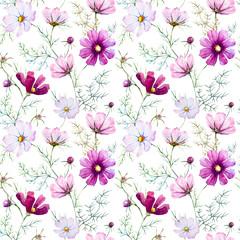 Watercolor wild flowers pattern