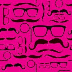 Different hipster glasses mustaches and coffee elements on pattern background with pink color