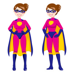 Illustration of beautiful sexy woman in front and side pose with pink superhero costume