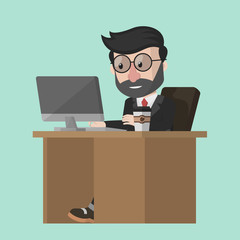 Business man work on office desk