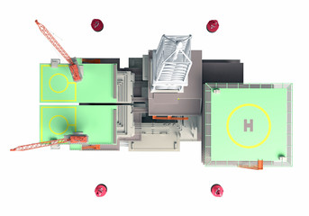 3D rendering oil Platform.top view