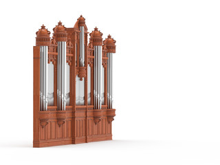 Pipe organ isolted on white. 3D rendering