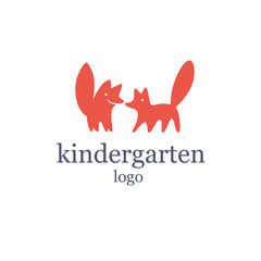 Vector simple flat kid logo. Baby, child company goods, toys shop, store. Two red fox icon, animal character. Big tail, cute animal. Kindergarten logo