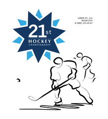 Vector hand drawn sportsman silhouette. Hockey player, hockey match. Flat sport advertising design template. Placard, poster, banner, leaflet, card.