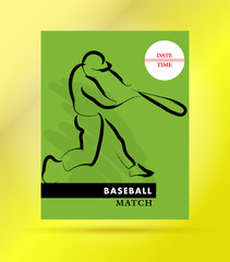 Vector hand drawn sportsman silhouette. Baseball player team. Flat sport advertising design template. Placard, poster, banner, leaflet, card.