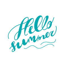Hand drawn summer card. Letternig, text message isolated on black background. Hand written font, abc. Ink drawing.
