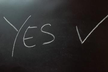 on a blackboard inscribed words