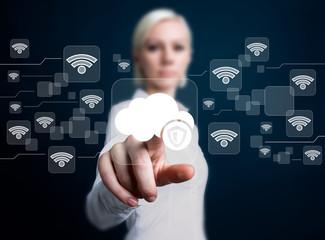 Business woman pushing button cloud protection antivirus security shield wifi