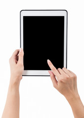 Hands holding tablet vertical white background. use clipping pat