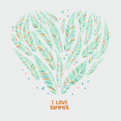 Hand drawn palm leaves in shape of heart