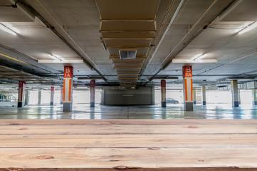 Wood floor with Parking garage interior, industrial building, pa