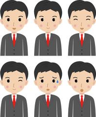 若いビジネスマン 表情のバリエーション