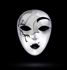 black-white mask with veil