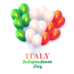 Background in National Colors of the Italy. Vector card with balloons for Italy Day. Happy Independence Day. Italy Vector Patriotic Poster
