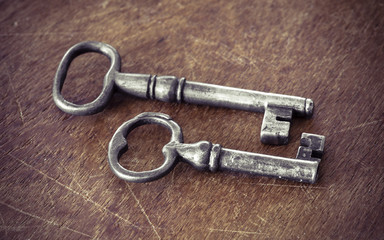 Vintage keys in old retro style