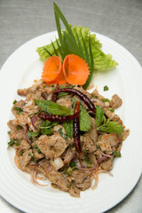 pork salad is thai food that savor sour and spicy.