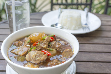 """braised pork soup hot and spicy herb what we call """"Moo Toon Super"""" the delicious famous Thai food"""