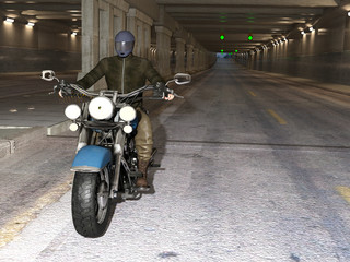 Young handsome biker riding motorcycle through the twilight tunnel. 3d render.