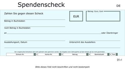 Neutrale, blaue Spendenscheck Vorlage