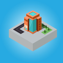 isometric building outside on blue background