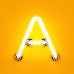 Neon light alphabet character A font