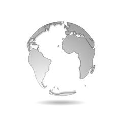 Tech grey globe world map design