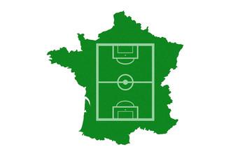 Frankreichkarte mit einem Fußballfeld