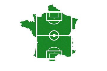Frankreichkarte als Fußballfeld