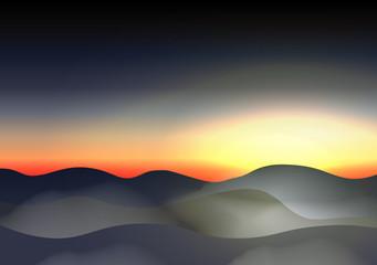 Twilight Sky Mountains in the Fog - Vector Illustration