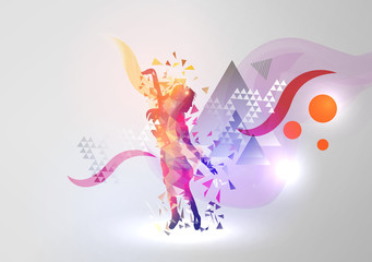 Dance Girl on Modern Abstract Background - Vector Illustration