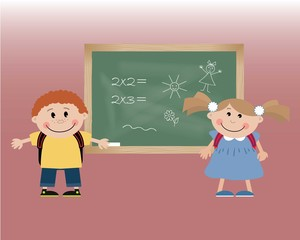 Children against a blackboard. Vector illustration. It can be used for the websites, children's magazines and typographical production