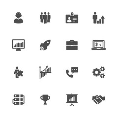 Business flat gray icons