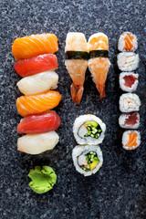 Sushi Set nigiri and sushi rolls, maki, california roll, shrimp,