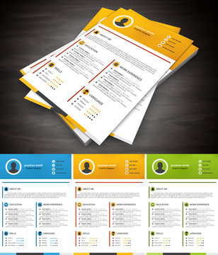 Resume.File contains text editable AI and PSD, EPS10,JPEG and free font link.