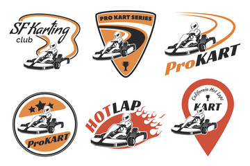 Set of kart racing emblems, logo and icons.Vector illustration w