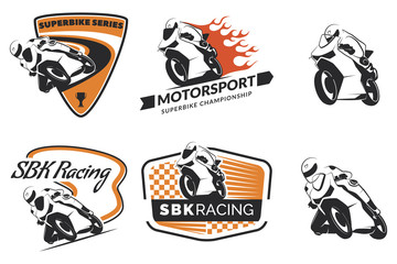 Set of racing motorcycle logo, badges and icons. Motorcycle repa