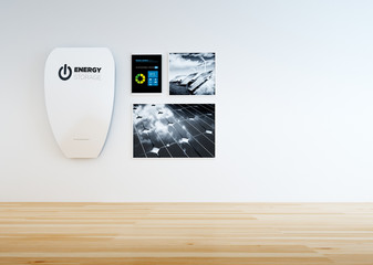 3D rendering of modern minimalistic home interior with hi-capacity wall battery, control panel and black and white pictures of renewable energy.