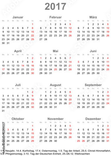 Einfacher Kalender 2017 mit