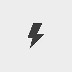 Lightning icon in a flat design in black color. Vector illustration eps10