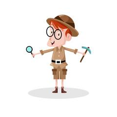 Archaeologist vector illustration