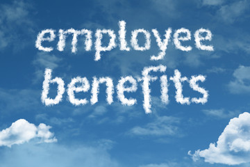 Employee Benefits cloud word with a blue sky