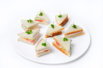 Mini sandwiches on a plate