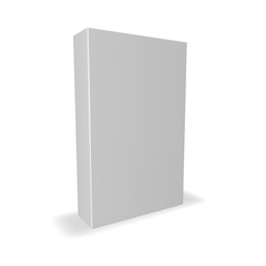 White product box with blank cover isolated on white with shadow, 3D illustration.