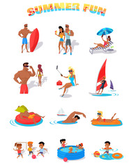 Summer Holidays Color Icons with People