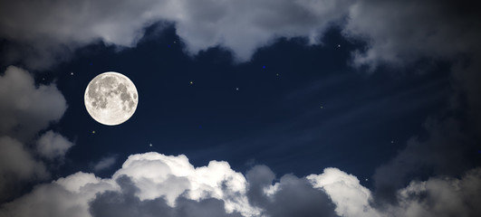sky clouds and moon with the stars, fabulous collage