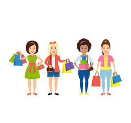 shopping women with shopping bag purchases isolated on white background