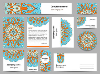 Stationery template design with green mandalas.