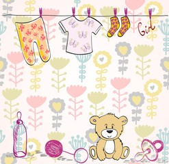 Stylish floral background with baby elements in light colors.