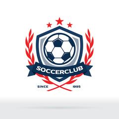 Soccer Club Logo, Football Star Badge with Wreath and Shield